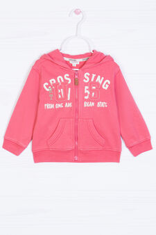 100% cotton sweatshirt with printed lettering, Coral Pink, hi-res