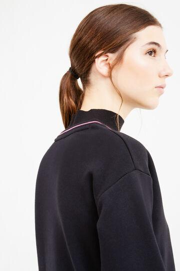 Cotton blend sweatshirt with printed lettering, Black, hi-res