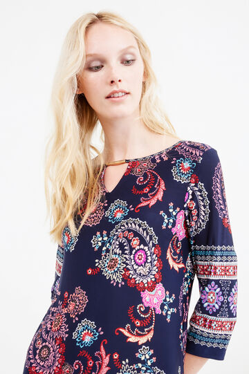 Stretch dress with paisley pattern, Blue/Red, hi-res