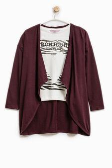 Cotton cardigan and T-shirt set, Claret Red, hi-res