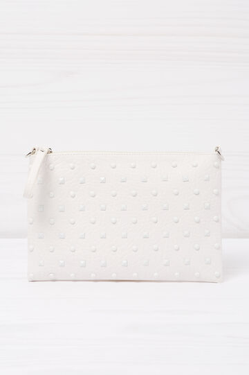 Leather look clutch with studs, White, hi-res