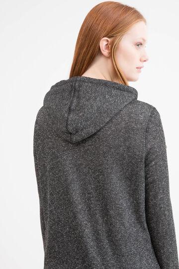 Curvy cotton blend hoodie, Black, hi-res