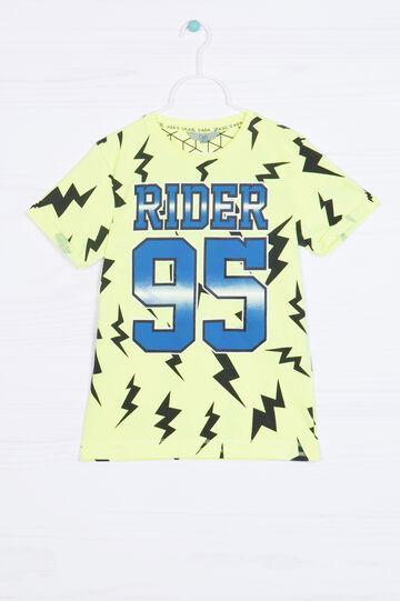 T-shirt puro cotone maxi stampa, Giallo acido, hi-res