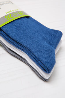 Three-pairs solid colour socks., Royal Blue, hi-res