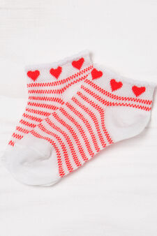 Two-pair pack socks with embroidery, White/Red, hi-res