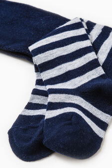 Stretch striped cotton tights., Grey/Blue, hi-res
