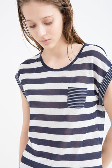 T-shirt misto lino fantasia a righe, Bianco/Blu, hi-res