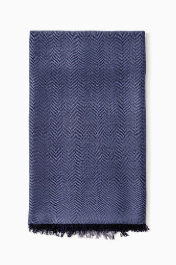 Solid colour scarf in 100% viscose, Blue, hi-res