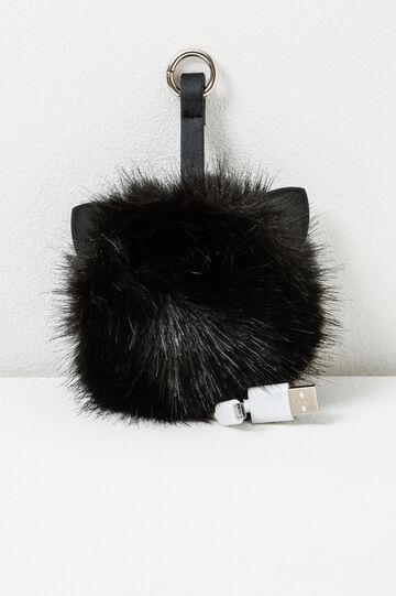 Faux fur USB adaptor, Black, hi-res