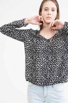 V-neck printed blouse, Black/White, hi-res