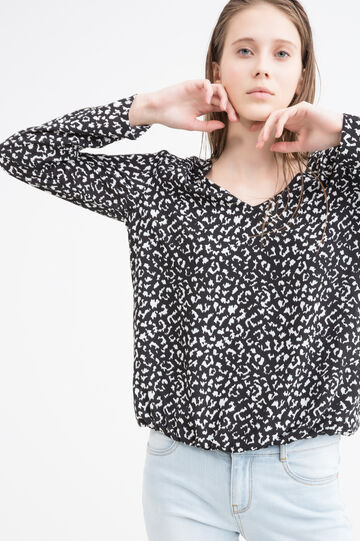 V-neck printed blouse, Black/White, hi-res