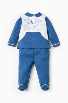 Outfit with Polo shirt with pouch pocket and baby leggings, White/Blue, hi-res