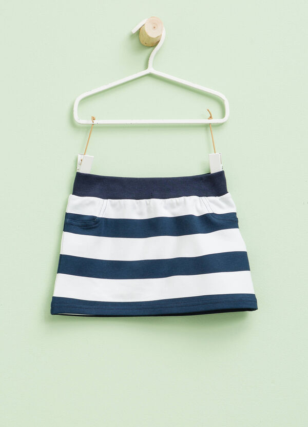 Striped stretch cotton skirt | OVS