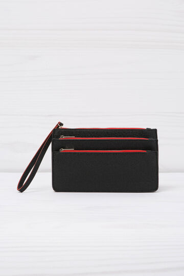 Wallet with three compartments, Black, hi-res