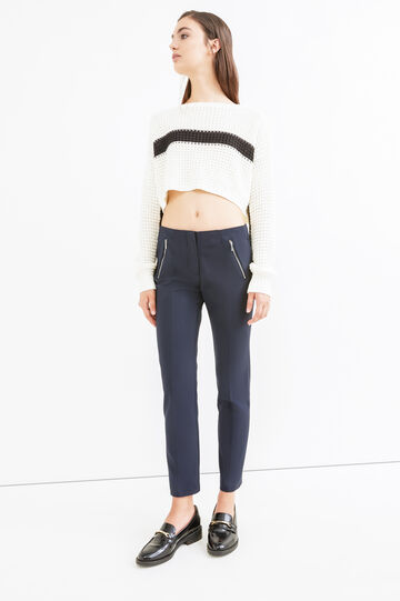 Elegant solid colour stretch trousers, Navy Blue, hi-res