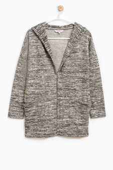 100% cotton hooded cardigan, Black/Grey, hi-res