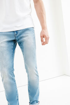 Washed and faded effect slim-fit stretch jeans, Light Wash, hi-res