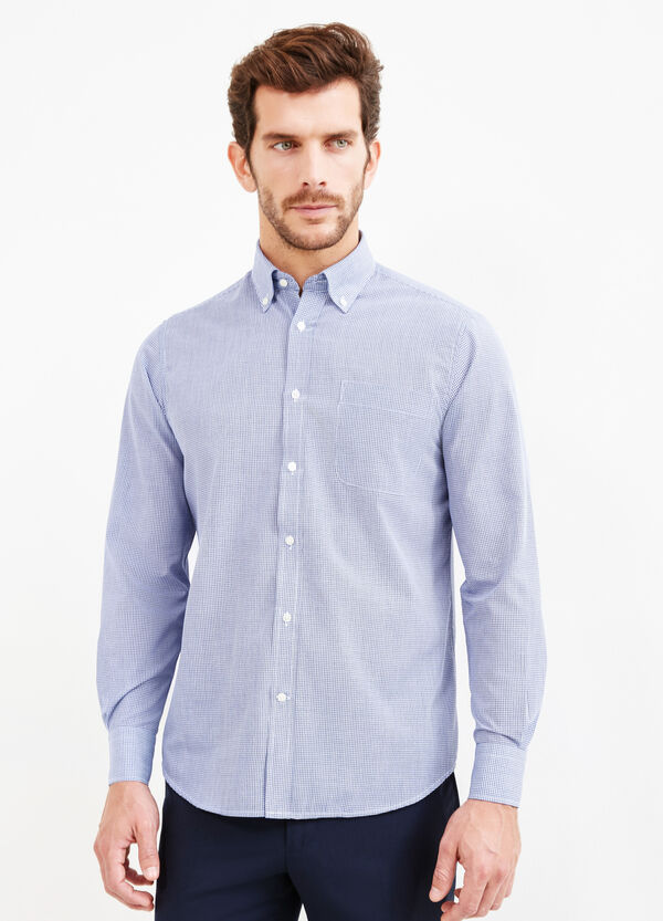 Slim-fit formal shirt with regular micro-check pattern | OVS