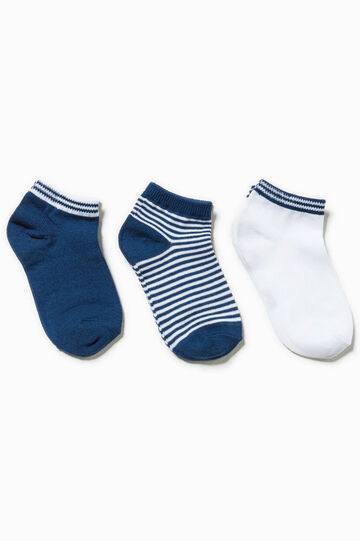 Three-pack striped socks, White/Blue, hi-res