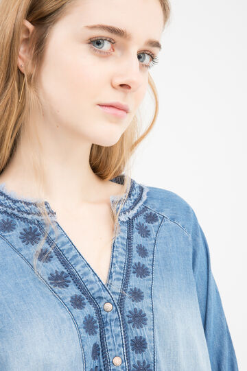 Blusa di jeans apertura a V, Blu denim, hi-res