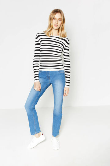 Washed-effect stretch jeans with fading, Light Wash, hi-res