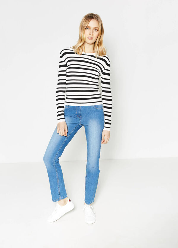Washed-effect stretch jeans with fading | OVS