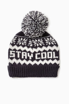 Patterned beanie cap, Navy Blue, hi-res