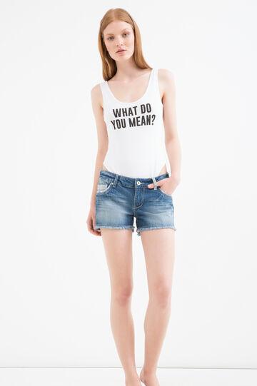 Stretch viscose printed bodysuit, White, hi-res