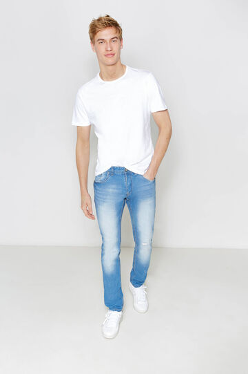 Slim-fit worn-effect jeans with whiskering, Medium Wash, hi-res