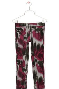 Floral stretch cotton trousers, Multicolour, hi-res