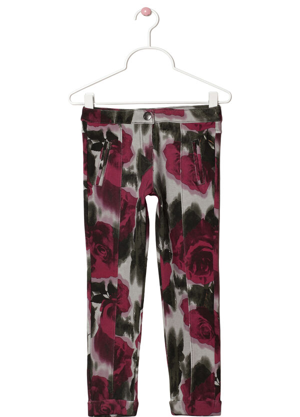 Floral stretch cotton trousers | OVS