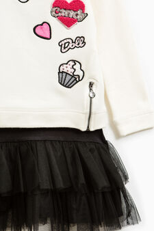 Cotton dress and tulle skirt, Milky White, hi-res
