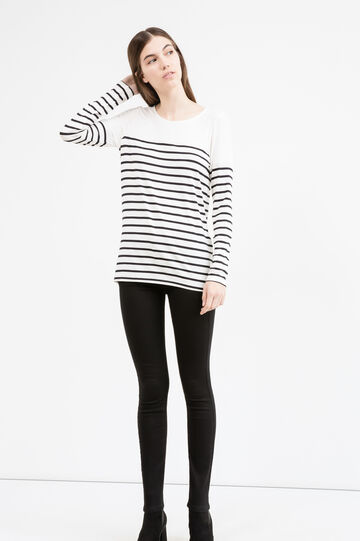 Long sleeved T-shirt with striped pattern, Black, hi-res