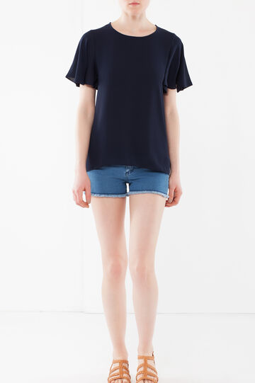 T-shirt with frill sleeves, Navy Blue, hi-res