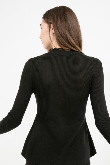 Viscose blend pullover with high neck, Black, hi-res
