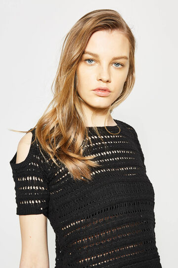 Ribbed openwork pullover