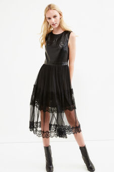 Solid colour lace and leather look dress, Black, hi-res