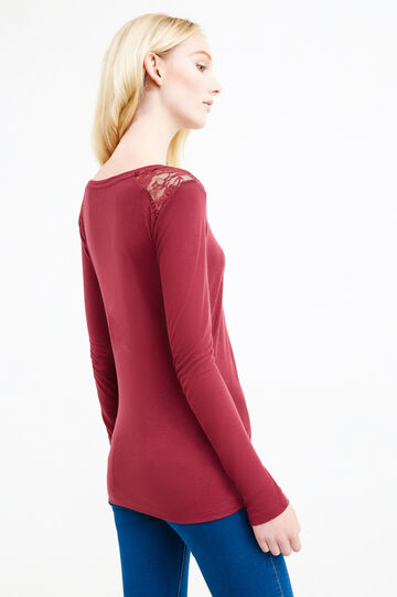 Long-sleeved T-shirt with lace, Aubergine, hi-res