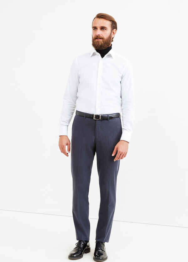 Stretch cotton trousers with crease   OVS