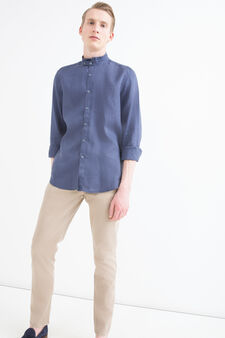 100% linen shirt with mandarin collar, Blue, hi-res
