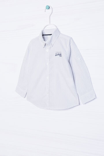 100% cotton shirt with button-down collar., White/Grey, hi-res