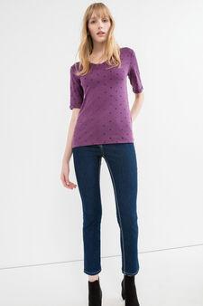 T-shirt puro cotone fantasia a stelle, Viola vinaccia, hi-res