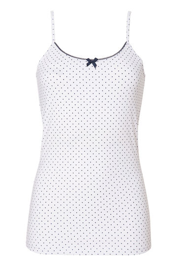 Stretch cotton top with polka dot print., White/Blue, hi-res