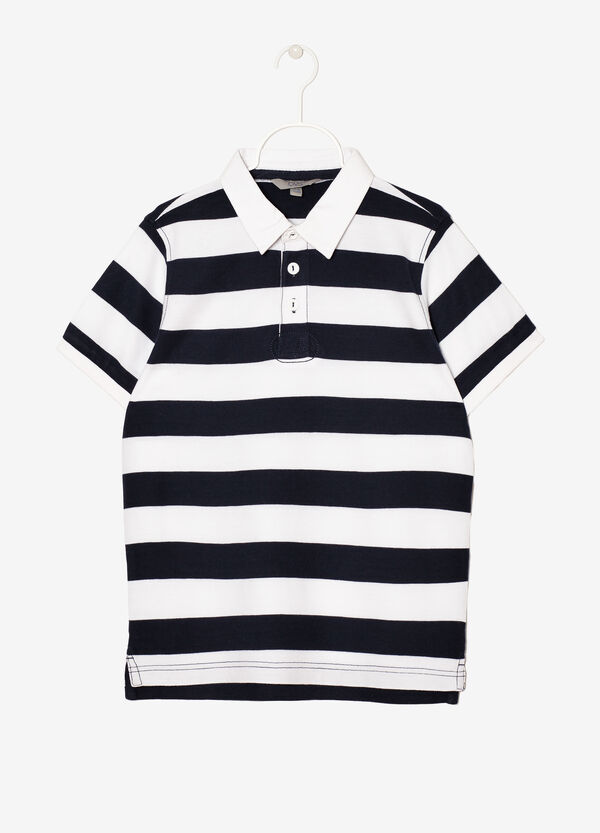 100% cotton polo shirt with striped trim | OVS