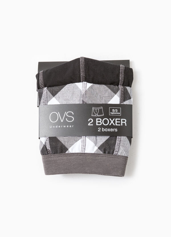 Two-pack cotton boxer shorts solid colour and check | OVS