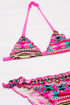 Stretch bikini with ethnic pattern, Fuchsia, hi-res