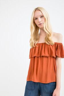 Blusa pura viscosa scollo barchetta, Rosso mattone, hi-res