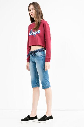 Bermuda di jeans cintura fantasia, Lavaggio chiaro, hi-res
