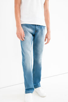 Comfort fit jeans, with worn effect and whiskering, Light Wash, hi-res
