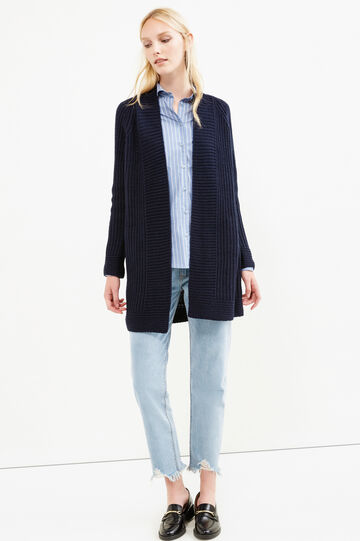 Long chunky knit cardigan, Blue, hi-res